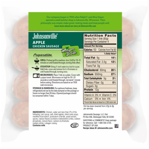 Johnsonville Apple Chicken Sausages Perspective: back
