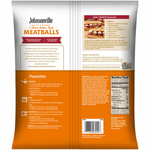 Johnsonville Fully Cooked 3 Cheese Italian Style Meatballs 28 Count Perspective: back