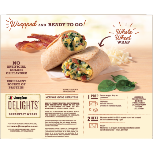 Jimmy Dean Delights Spinach & Bacon Breakfast Wraps Perspective: back