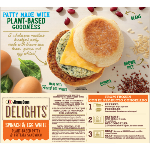 Jimmy Dean Delights® Spinach & Egg White Plant Based Patty & Frittata Sandwich Perspective: back