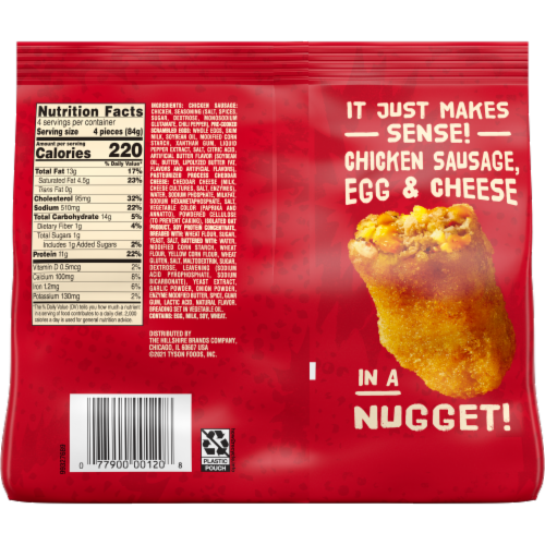 Jimmy Dean Chicken Sausage Egg & Cheese Breakfast Nuggets Perspective: back