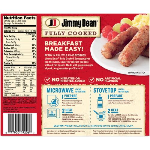 Jimmy Dean Fully Cooked Original Pork Sausage Links Perspective: back