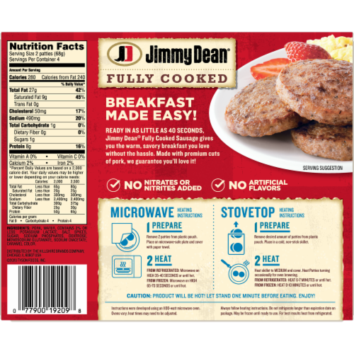 Jimmy Dean Fully Cooked Original Pork Sausage Patties Perspective: back