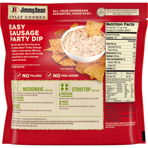 Jimmy Dean Fully Cooked Turkey Sausage Crumbles Perspective: back