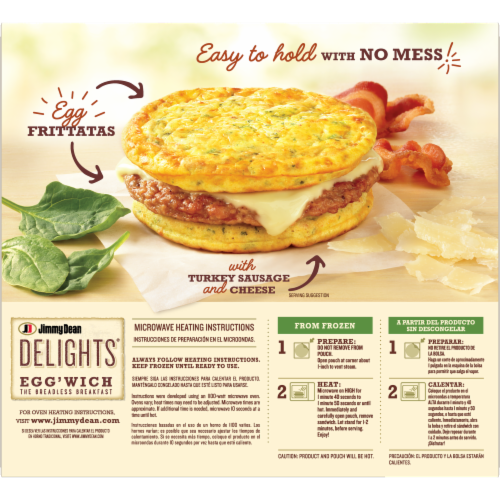 Jimmy Dean Delights Bacon Spinach & Onion Egg'wich Perspective: back