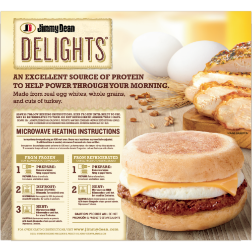 Jimmy Dean Delights Turkey Sausage Egg White & Cheese English Muffin Sandwiches Perspective: back