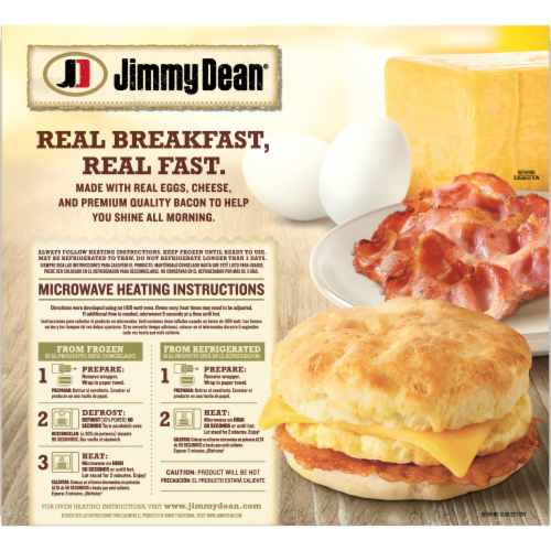 Jimmy Dean Bacon Egg & Cheese Biscuit Sandwiches Perspective: back