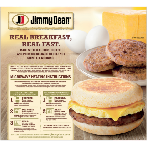 Jimmy Dean Sausage Egg & Cheese English Muffin Sandwiches Perspective: back
