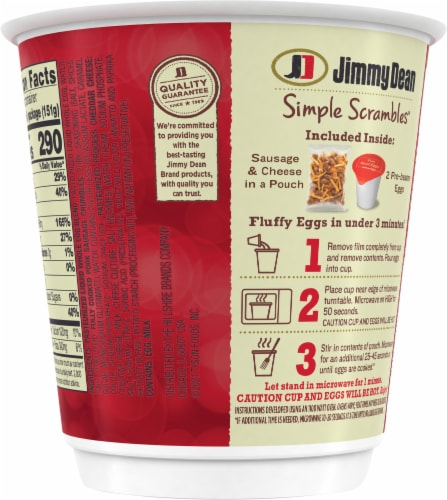Jimmy Dean Simple Scrambles™ Sausage Breakfast Cup Perspective: back