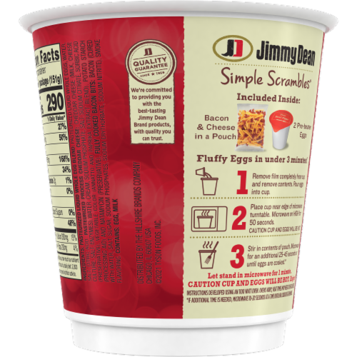 Jimmy Dean Simple Scrambles Bacon Breakfast Cup Perspective: back