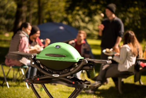 Weber Q 1200 Portable Gas Grill - Green Perspective: back