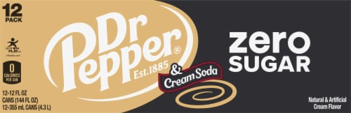 Dr Pepper Zero Sugar Cream Soda Perspective: back