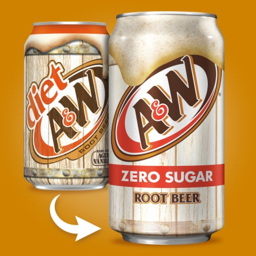 A&W Zero Sugar Root Beer Soda Perspective: back