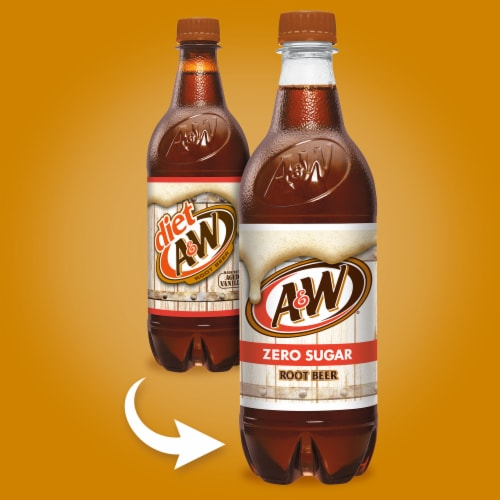 A&W Diet Root Beer Soda Perspective: back