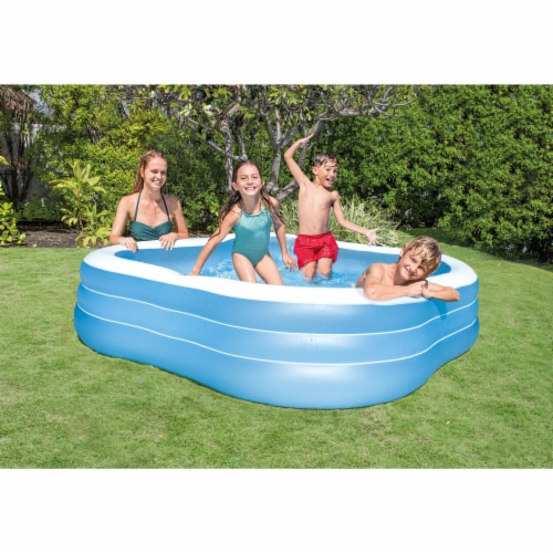 Intex Swim Center 90in x 90in x 2in Inflatable Play Kids Backyard Swimming Pool Perspective: back