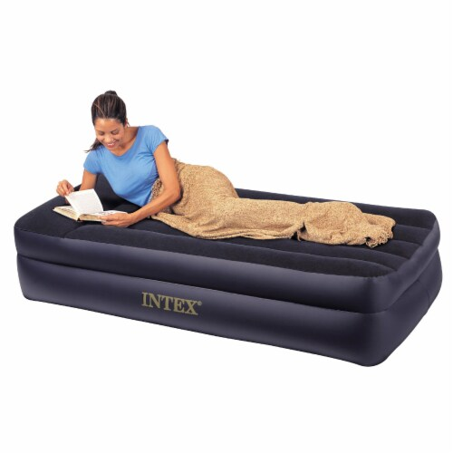 Intex Twin Rest Raised Air Mattress with Built In Pillow and Electric Pump, Gray Perspective: back