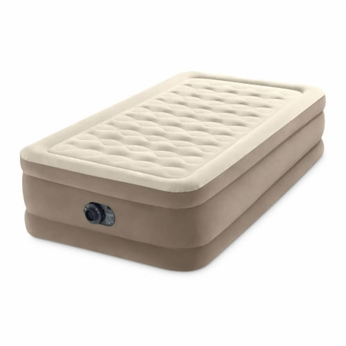 Intex 64425ED Ultra Plush Fiber Tech Airbed Mattress with Built in Pump, Twin Perspective: back