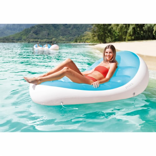 Intex Petal Floating Lounge Chair Pool Float Lounger w/ Cupholder, Blue & White Perspective: back