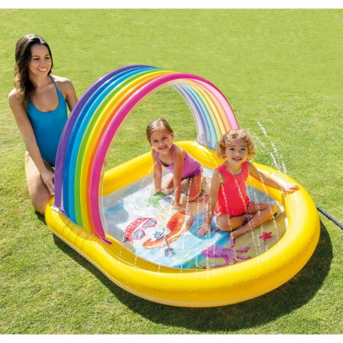 Intex 57156EP 22-Gallon Inflatable Rainbow Arch Kids Spray Pool for Ages 2 & Up Perspective: back