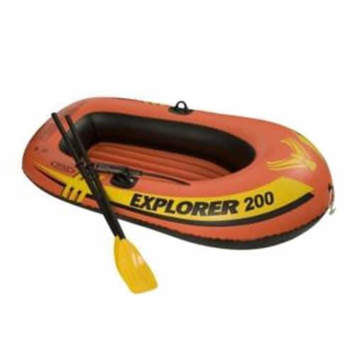Intex Explorer 200 Inflatable 2 Person River Boat Raft Set w/ Oars & Pump (Pair) Perspective: back