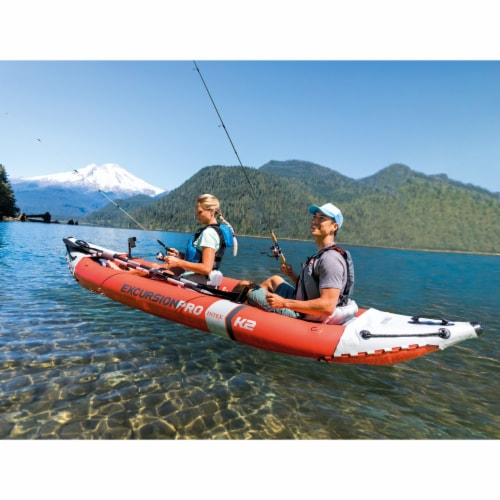 Intex Excursion Pro Inflatable 2 Person Vinyl Kayak with 2 Oars and Pump, Red Perspective: back