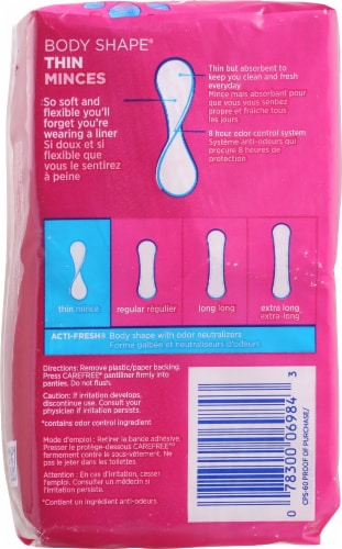 Carefree Body Shape Thin to Go Unscented Pantiliners Perspective: back