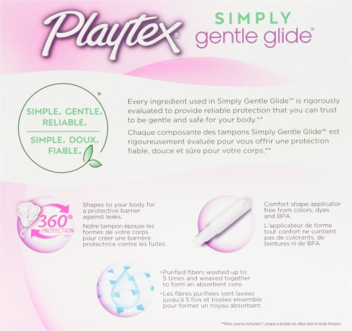 Playtex Simply Gentle Glide 360 Lightly Scented Regular and Super Absorbency Tampons Multi-Pack Perspective: back