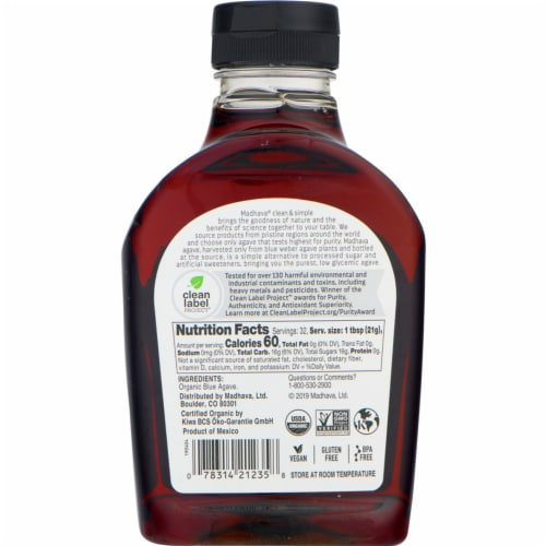 Madhava Organic Amber Raw Blue Agave Nectar Perspective: back
