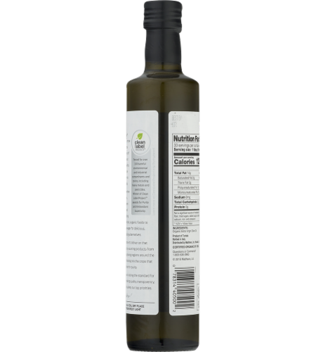 Madhava Organic Extra Virgin Olive Oil Perspective: back