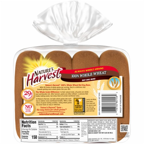 Nature's Harvest Whole Wheat Hot Dog Buns Perspective: back