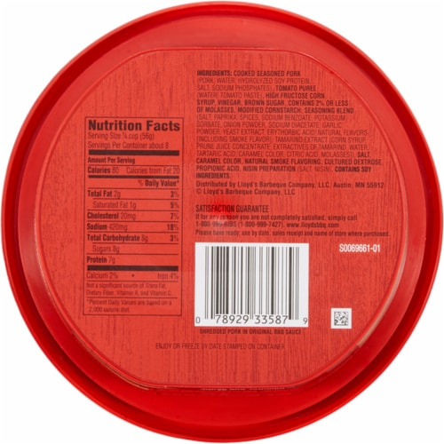 Lloyd's Original BBQ Sauce Seasoned Shredded Pork Perspective: back