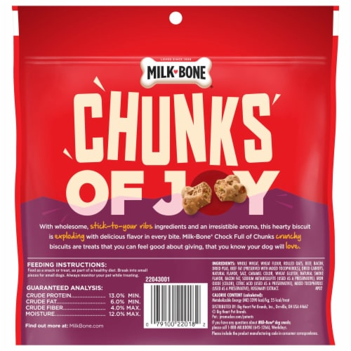 Milk-Bone Chock Full of Chunks Beef & Bacon Dog Treats Perspective: back