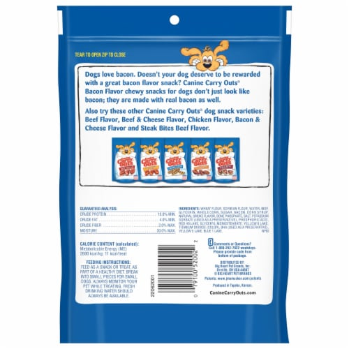 Canine Carry Outs Bacon Flavor Dog Treats Perspective: back