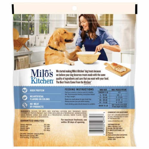 Milo's Kitchen Chicken Meatballs Dog Treats Perspective: back