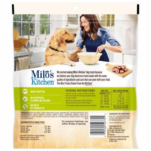 Milo's Kitchen Beef Sausage Slices Dog Treats Perspective: back