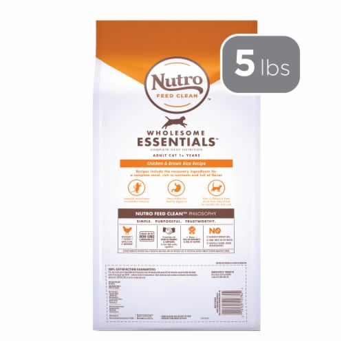 Nutro Wholesome Essentials Chicken & Brown Rice Recipe Adult Cat Food Perspective: back