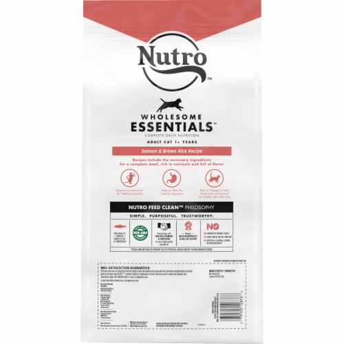 Nutro Wholesome Essentials Salmon & Brown Rice Flavored Dry Adult Cat Food Perspective: back