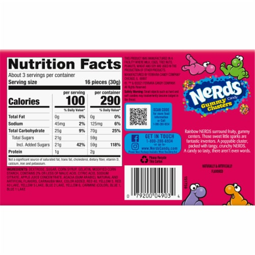 Nerds Rainbow Gummy Clusters Theater Box Perspective: back