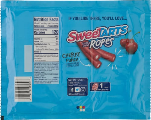 SweeTARTS Tangy Strawberry Soft & Chewy Ropes Perspective: back