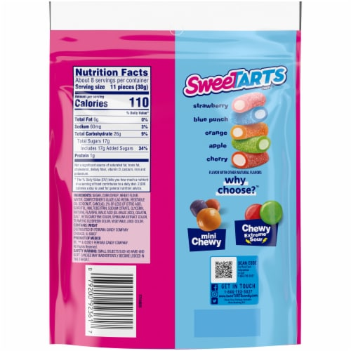 SweeTARTS Ropes Bites Chewy Candy Perspective: back