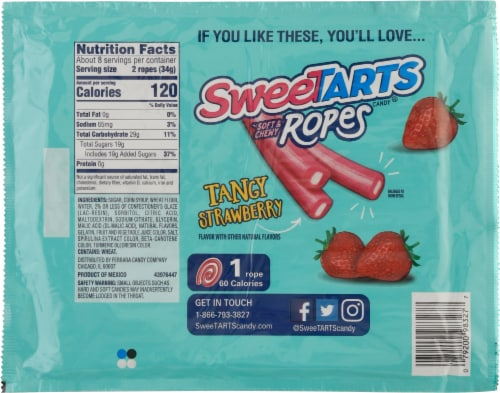 SweetTARTS Twisted Rainbow Punch Soft & Chewy Ropes Candy Perspective: back