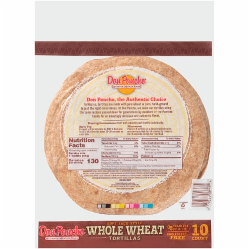 Don Pancho Whole Wheat Tortillas Perspective: back