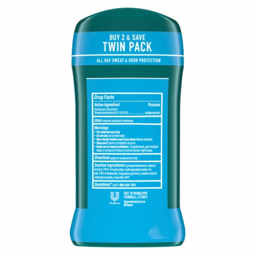 Degree Men Cool Rush 48H Antiperspirant Deodorant Twin Pack Perspective: back