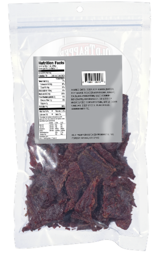 Old Trapper Zero Sugar Beef Jerky Perspective: back