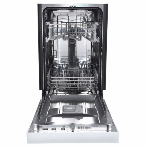Avanti DW1831D0WE Built In 6 Cycle Heat Dry Rinse Aid Kitchen Dishwasher, White Perspective: back