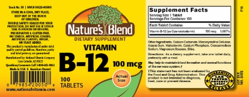Nature's Blend Vitamin B-12 Tablets 100 mcg 100 Count Perspective: back