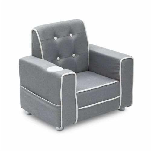Delta Children Chelsea Kids Toddler Upholstered Chair with Cup Holder, Gray Perspective: back