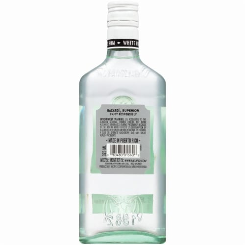 Bacardi Superior White Rum Perspective: back