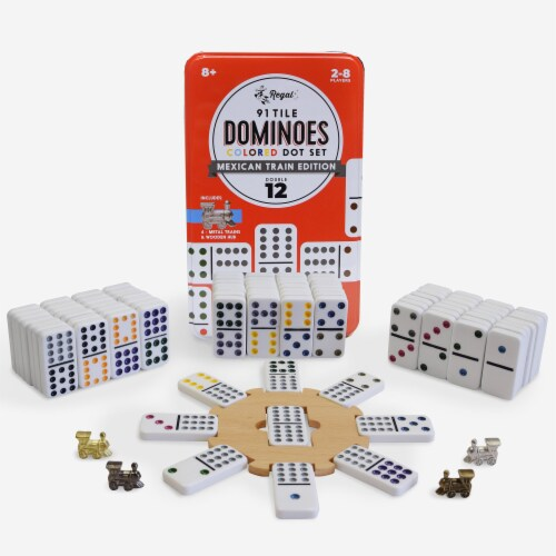 Regal Games Deluxe Bingo and Mexican Train Dominoes Board Game Set Perspective: back
