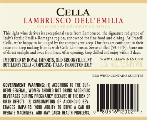 Cella Lambrusco Soft Red Wine Perspective: back